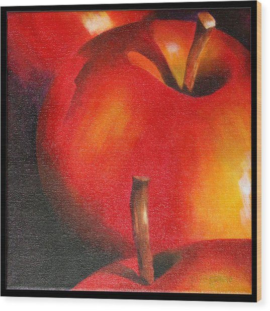 Two Red Apple Wood Print by Pepe Romero