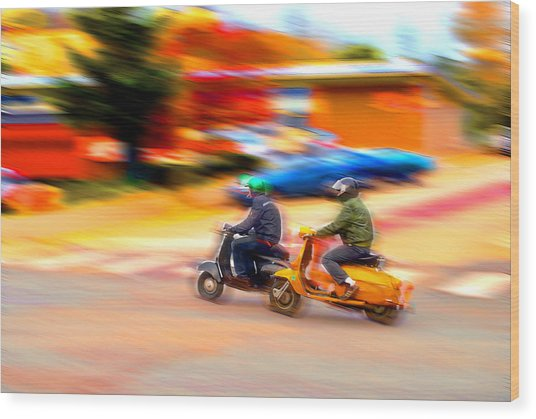 Two Scooters Wood Print by Craig Perry-Ollila