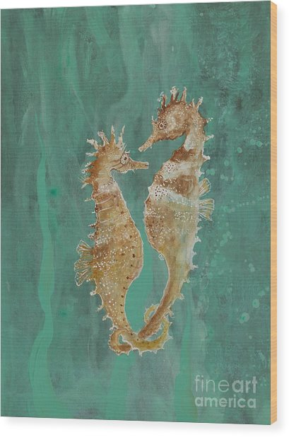 Two Seahorse Lovers Wood Print