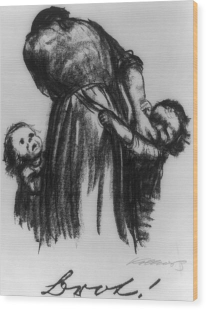Two Small Children Begging Mother Wood Print by Everett