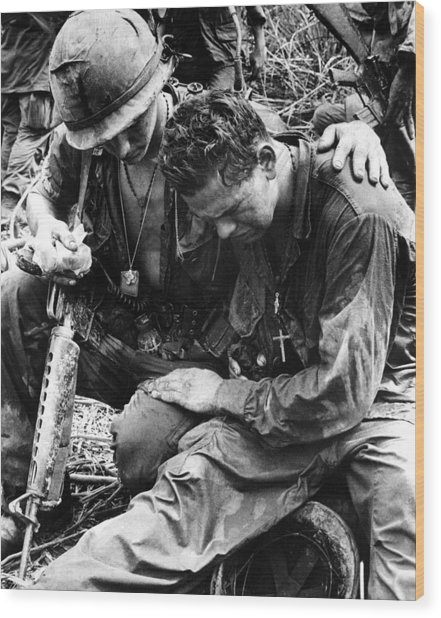 Two Soldiers Comfort Each Other Wood Print