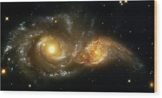 Two Spiral Galaxies Wood Print