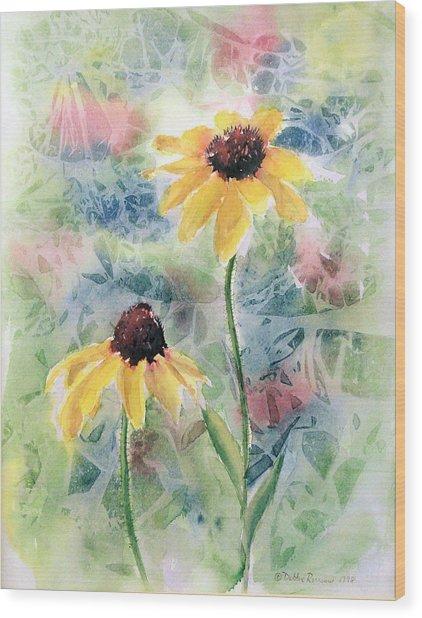 Two Sunflowers Wood Print