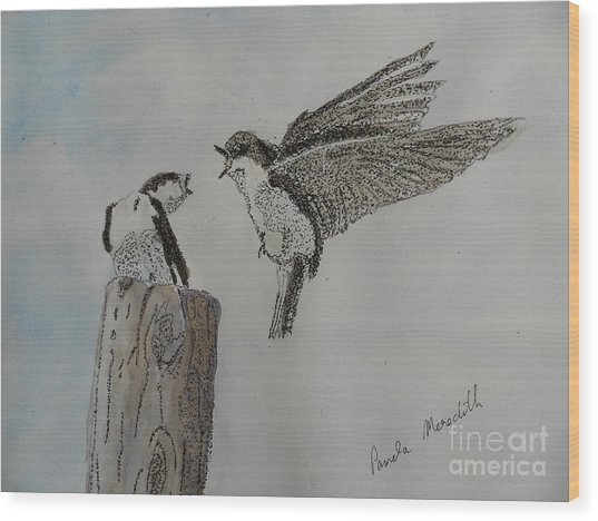 Two Swallows Wood Print