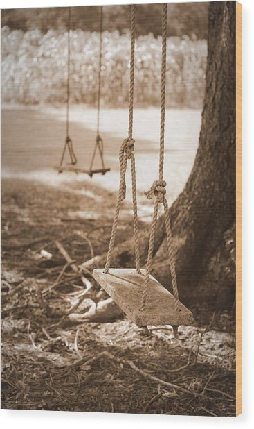 Two Swings - Sepia Wood Print