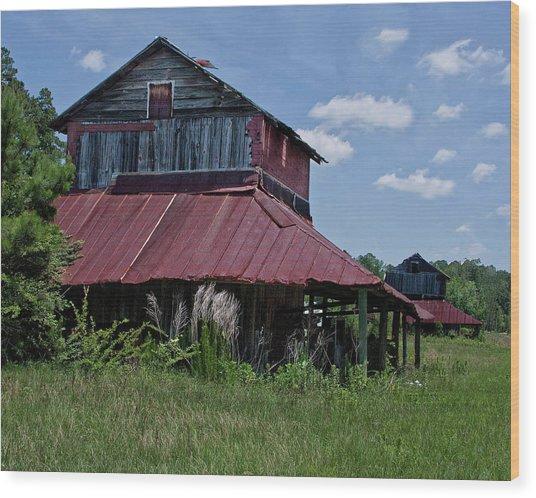 Two Tobacco Barns Wood Print