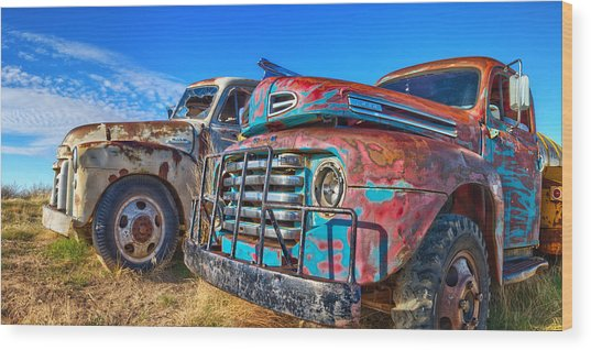 Two Trucks Wood Print