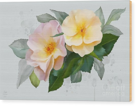 Wood Print featuring the painting Two Wild Roses by Ivana Westin