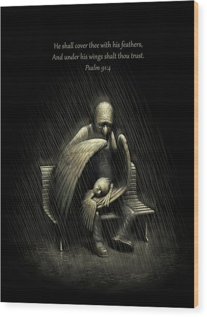 Two Wings And A Prayer - With Psalm 91 Wood Print