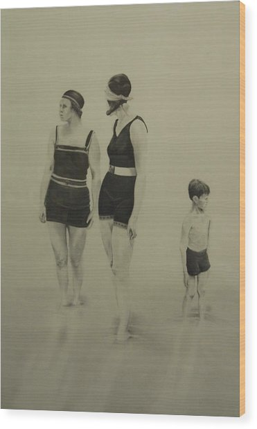 Two Women Bathers With Child Wood Print by John C