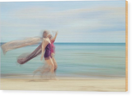 two women on beach No. 5 Wood Print by Holger Nimtz
