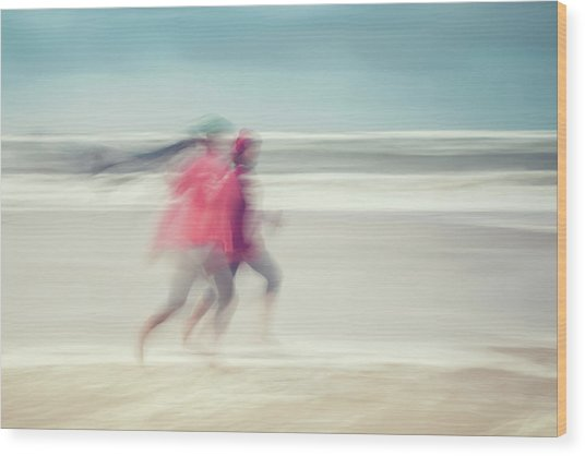 two women on beach No. 7 Wood Print by Holger Nimtz