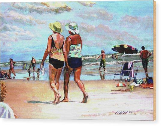 Two Women Walking On The Beach Wood Print