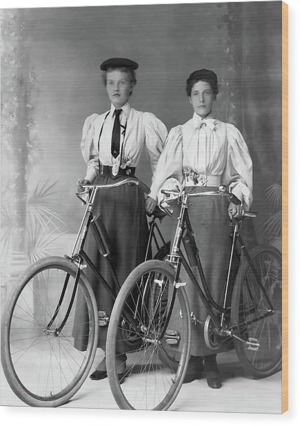 Two Young Ladies With Their Bicycles Circa 1895 Wood Print