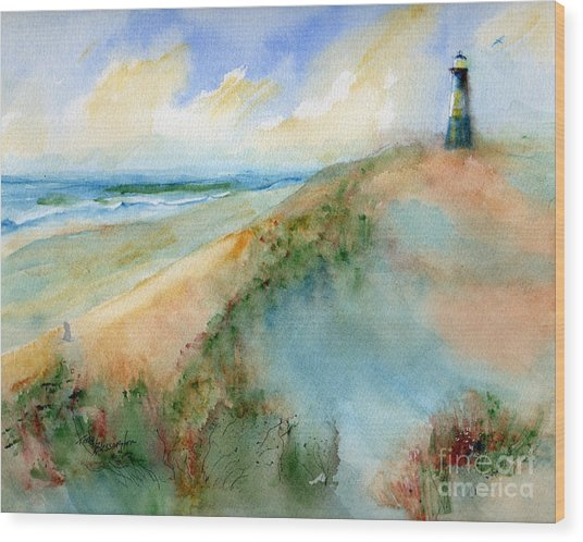 Tybee Dunes And Lighthouse Wood Print