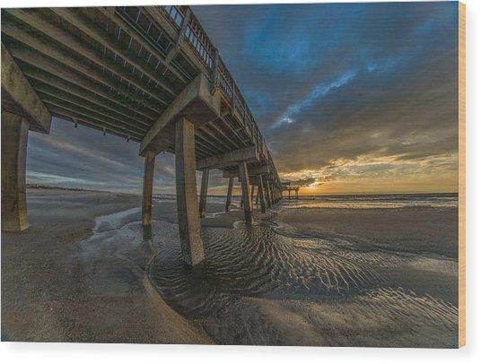 Tybee Island Beach Pier  Wood Print