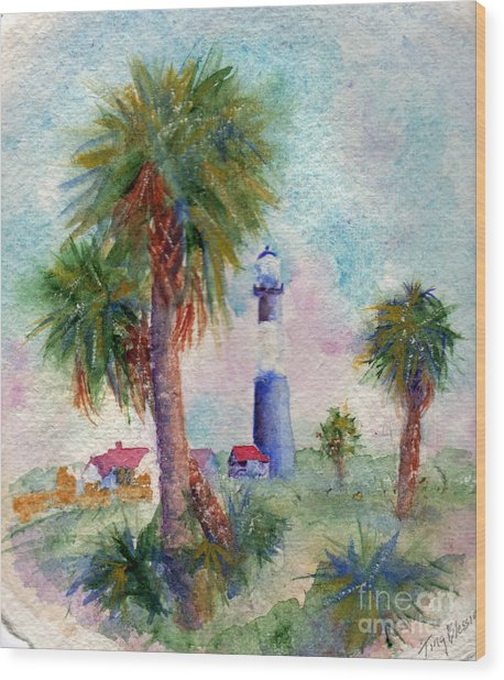 Tybee Lighthouse And Palms Wood Print