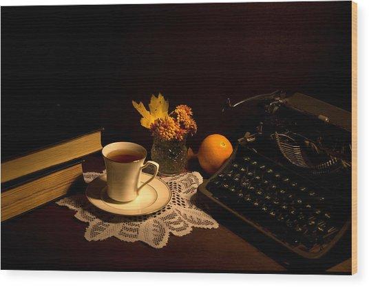 Typewriter And Tea Wood Print