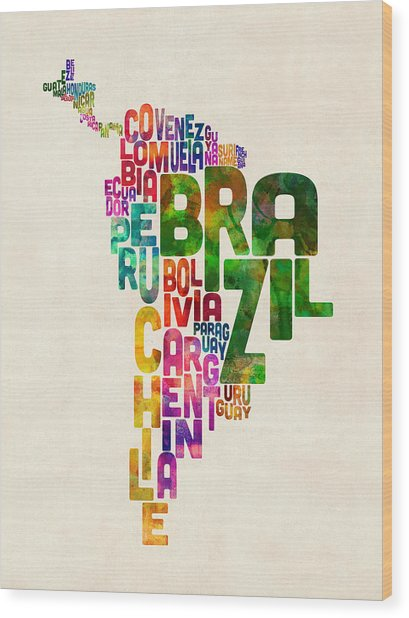 Typography Map Of Central And South America Wood Print