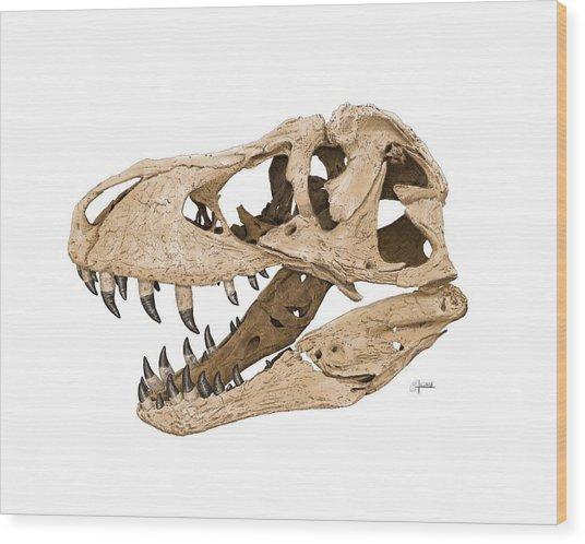 Tyrannosaurus Skull Wood Print