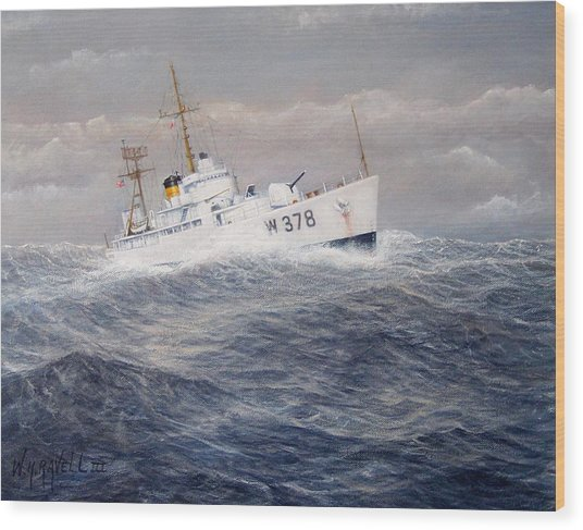 U. S. Coast Guard Cutter Halfmoon Wood Print by William H RaVell III
