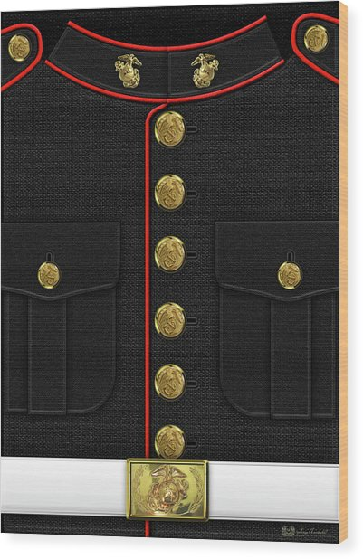 U S M C Dress Uniform Wood Print