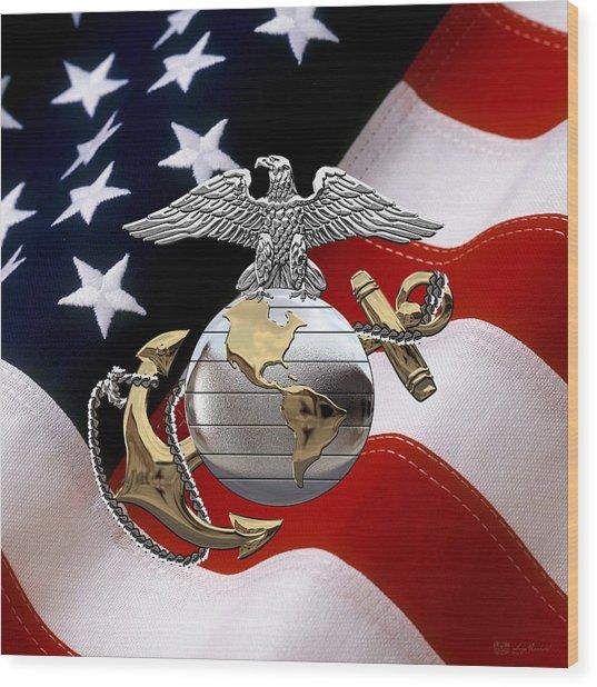 U S M C Eagle Globe And Anchor - C O And Warrant Officer E G A Over U. S. Flag Wood Print