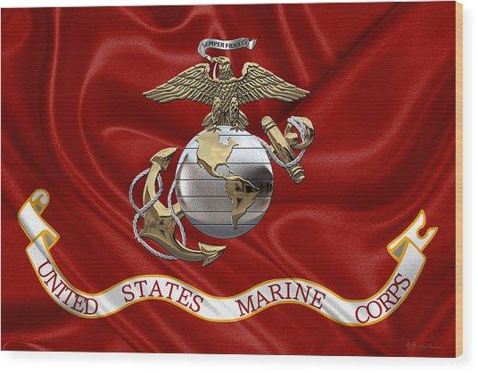 U. S.  Marine Corps - U S M C Eagle Globe And Anchor Over Corps Flag Wood Print