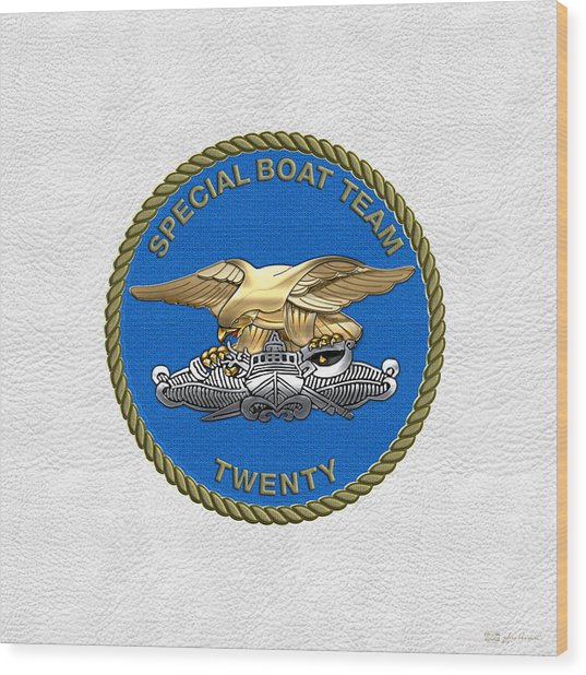 U. S. Navy S W C C - Special Boat Team 20   -  S B T 20   Patch Over White Leather Wood Print
