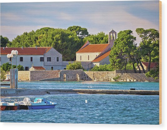 Ugljan Island Village Old Church And Beach View Wood Print