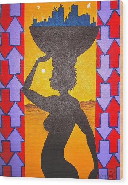 Uhuru Wood Print by Malik Seneferu