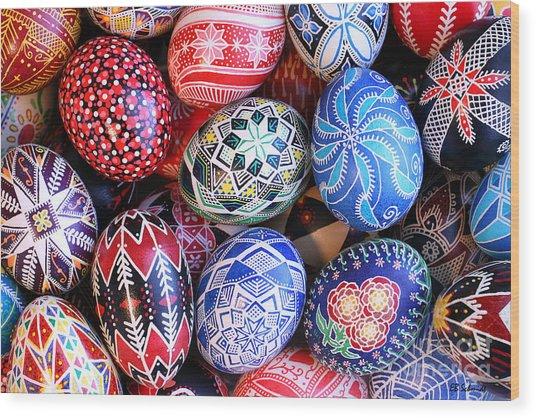 Ukrainian Easter Eggs Wood Print