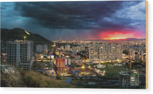 Ulaanbaatar Sunset Thunderstorm Wood Print