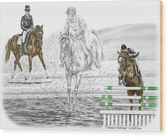Ultimate Challenge - Horse Eventing Print Color Tinted Wood Print