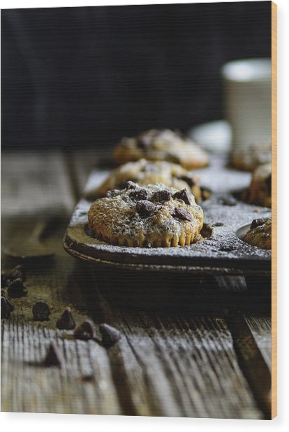 Ultimate Chocolate Chip Muffins Wood Print