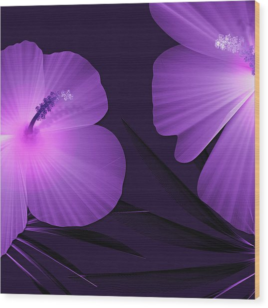 Ultraviolet Hibiscus Tropical Nature Print  Wood Print