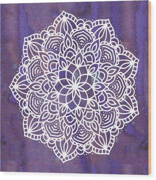 Ultraviolet Mandala Wood Print