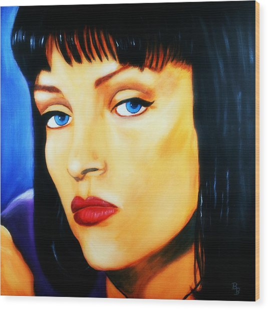 Uma Thurman In Pulp Fiction Wood Print