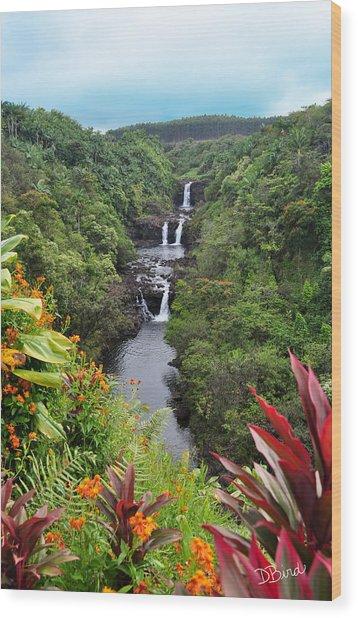 Umauma Falls Hawaii Wood Print