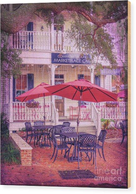 Umbrella Cafe Wood Print