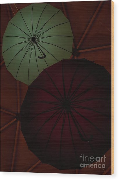 Umbrellas Wood Print