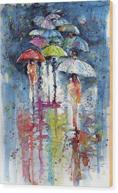 Umbrellas In Rain Wood Print