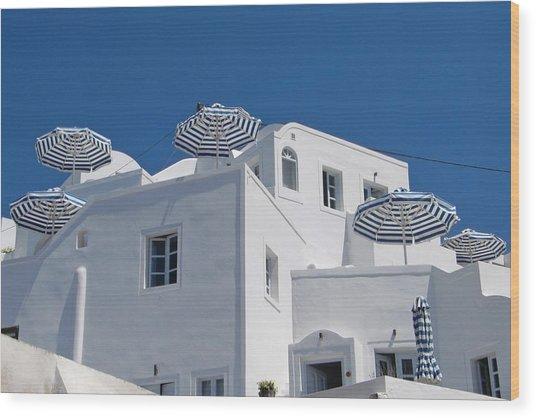 Umbrellas - Santorini, Greece Wood Print