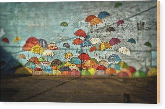 Umbrellas  Wood Print