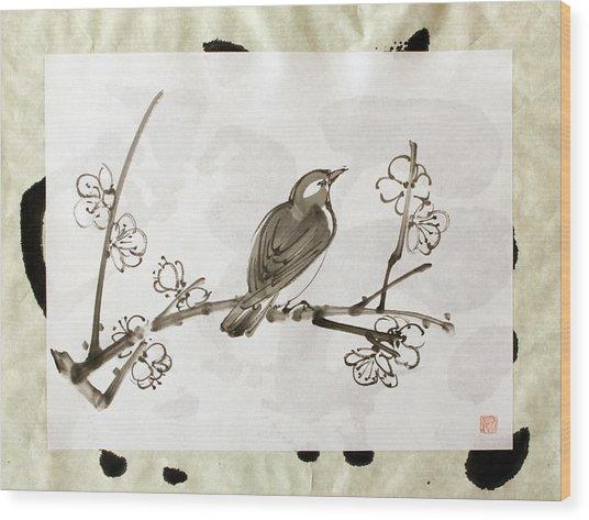 Ume Uguisu Wood Print