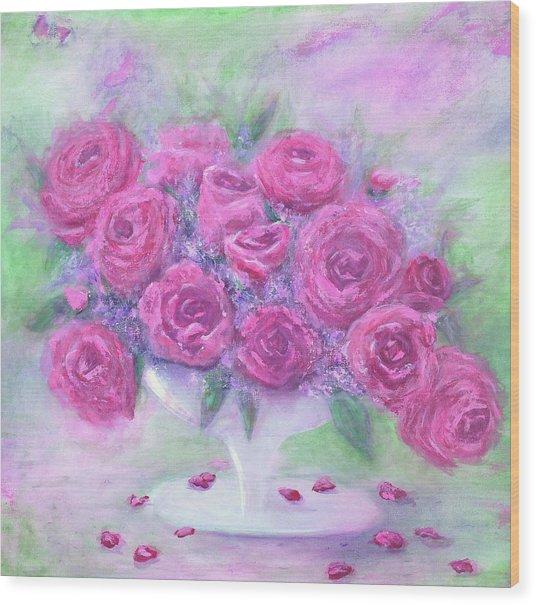 Armchair Rose Garden Wood Print