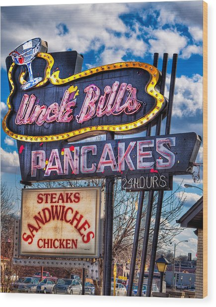 Uncle Bill's Pancakes Wood Print