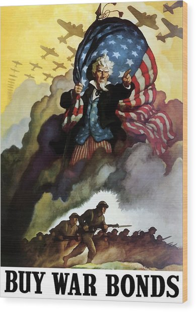 Uncle Sam - Buy War Bonds Wood Print