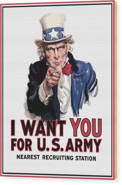 Uncle Sam -- I Want You Wood Print