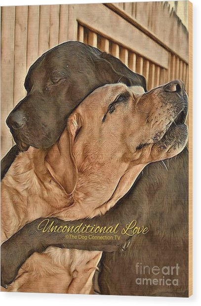 Wood Print featuring the digital art Unconditional Love by Kathy Tarochione